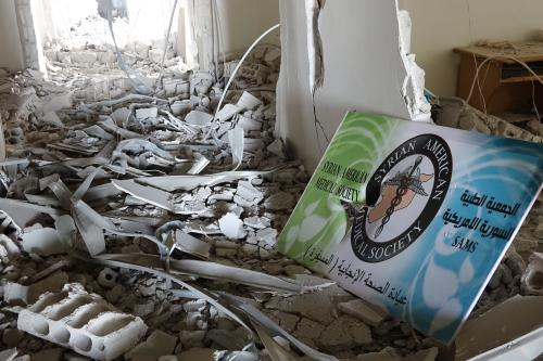 An inside view of the damaged Mseifra Hospital is seen after air raids targeted the area in Mseifra town of Daraa, Syria on 28 June, 2018 [Ammar Al Ali/Anadolu Agency]