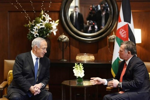 King of Jordan Abdullah II meets with Israeli Prime Minister Benjamin Netanyahu (left)