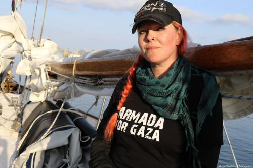 Divina Levrini - Swedish singer and activist on board 'Freedom' to Gaza [Jehan Alfarra/Middle East Monitor]