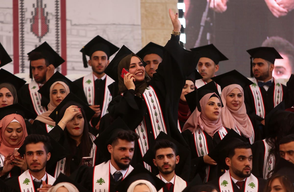Palestinian students attend their graduation ceremony at the Birzeit University in the West Bank city of Ramallah, 24 June, 2018 [Shadi Hatem/Apaimages]