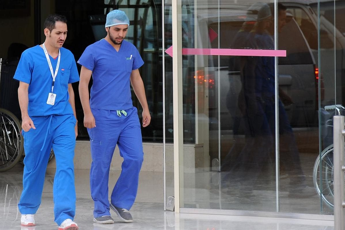 Saudi medical staff leave the emergency department at a hospital in the center of the Saudi capital Riyadh on April 8, 2014 [Fayez Nuredine / AFP/ Getty images]
