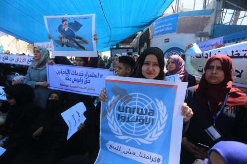 UNRWA staff strike in Gaza [Mohammed Asad/Middle East Monitor]