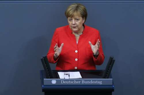 German Chancellor and leader of the German Chistian Democrats (CDU) Angela Merkel delivers a speech during the session of the German parliament 'Bundestag' to discuss the chancellery budget in Berlin, Germany on 4 July, 2018 [Abdülhamid Hoşbaş/Anadolu Agency]