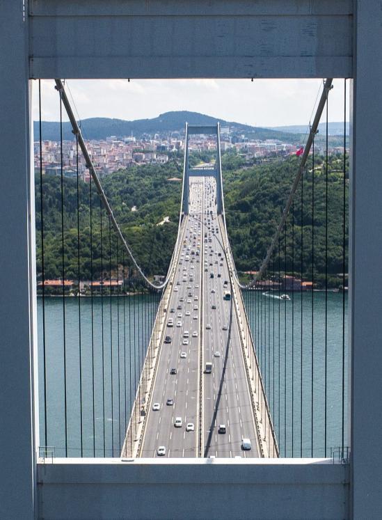 A drone photo shows an aerial view of Fatih Sultan Mehmet Bridge in Istanbul, Turkey on 5 July, 2018 [Muhammed Enes Yıldırım/Anadolu Agency]