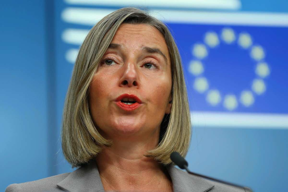 High Representative of the European Union for Foreign Affairs and Security Policy Federica Mogherini delivers a speech as she holds a press conference following the EU's Foreign Affairs Council Meeting in Brussels, Belgium on 16 July, 2018 [Dursun Aydemir/Anadolu Agency]
