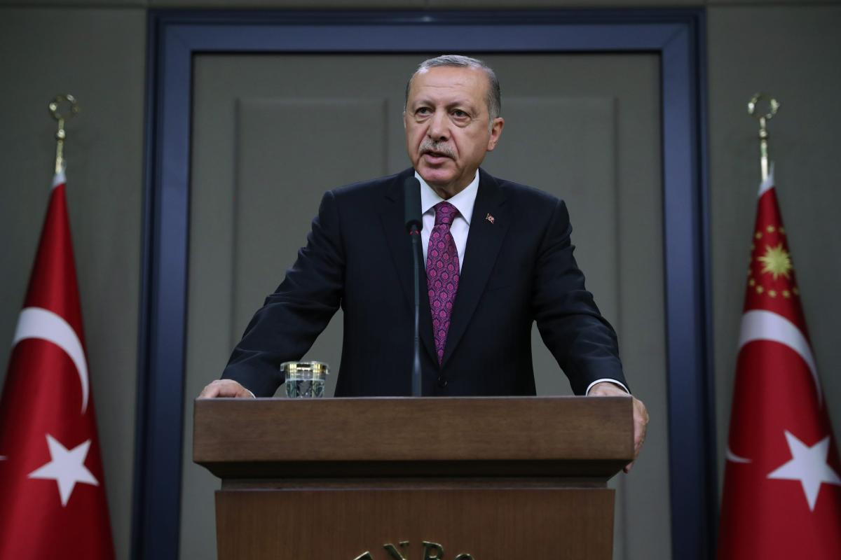 President of Turkey Recep Tayyip Erdogan addresses during a press conference in Ankara, Turkey [Kayhan Özer/Anadolu Agency]