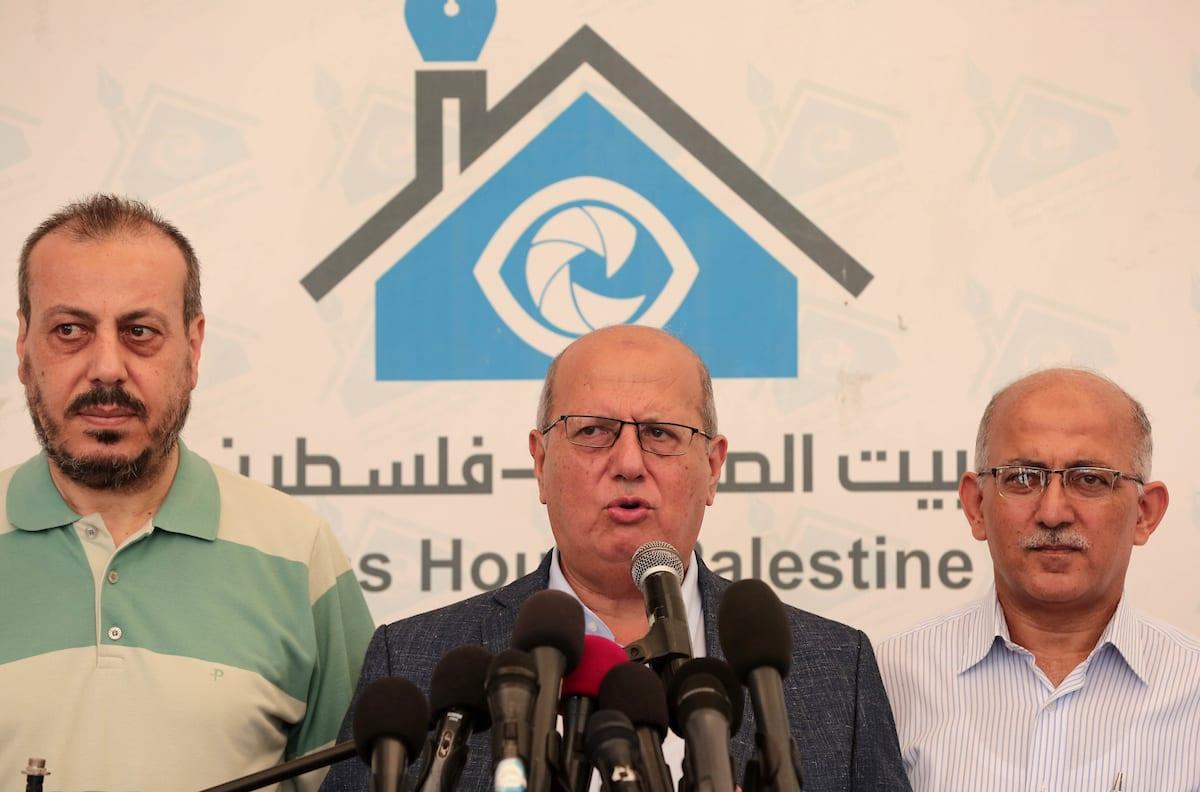 Head of the Popular Committee Jamal El-Khodari speaks during a press conference in Gaza city on 23 July, 2018 [Ramadan el-agha/Apaimages]