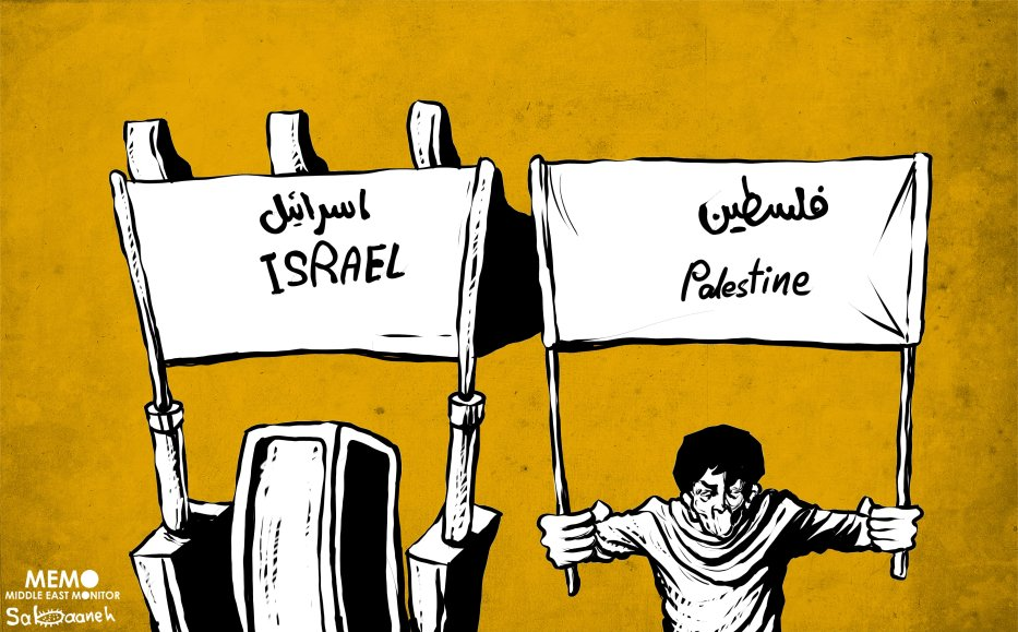 Israel's demolition of Al-Khan Al-Ahmar - Cartoon [Sabaaneh/MiddleEastMonitor]