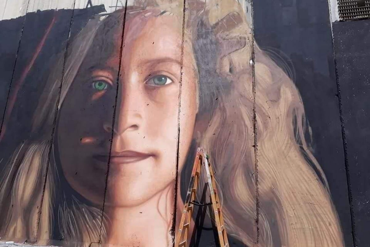 An Italian artist painted an image of Ahed Tamimi on the Separation Wall in occupied Bethlehem.