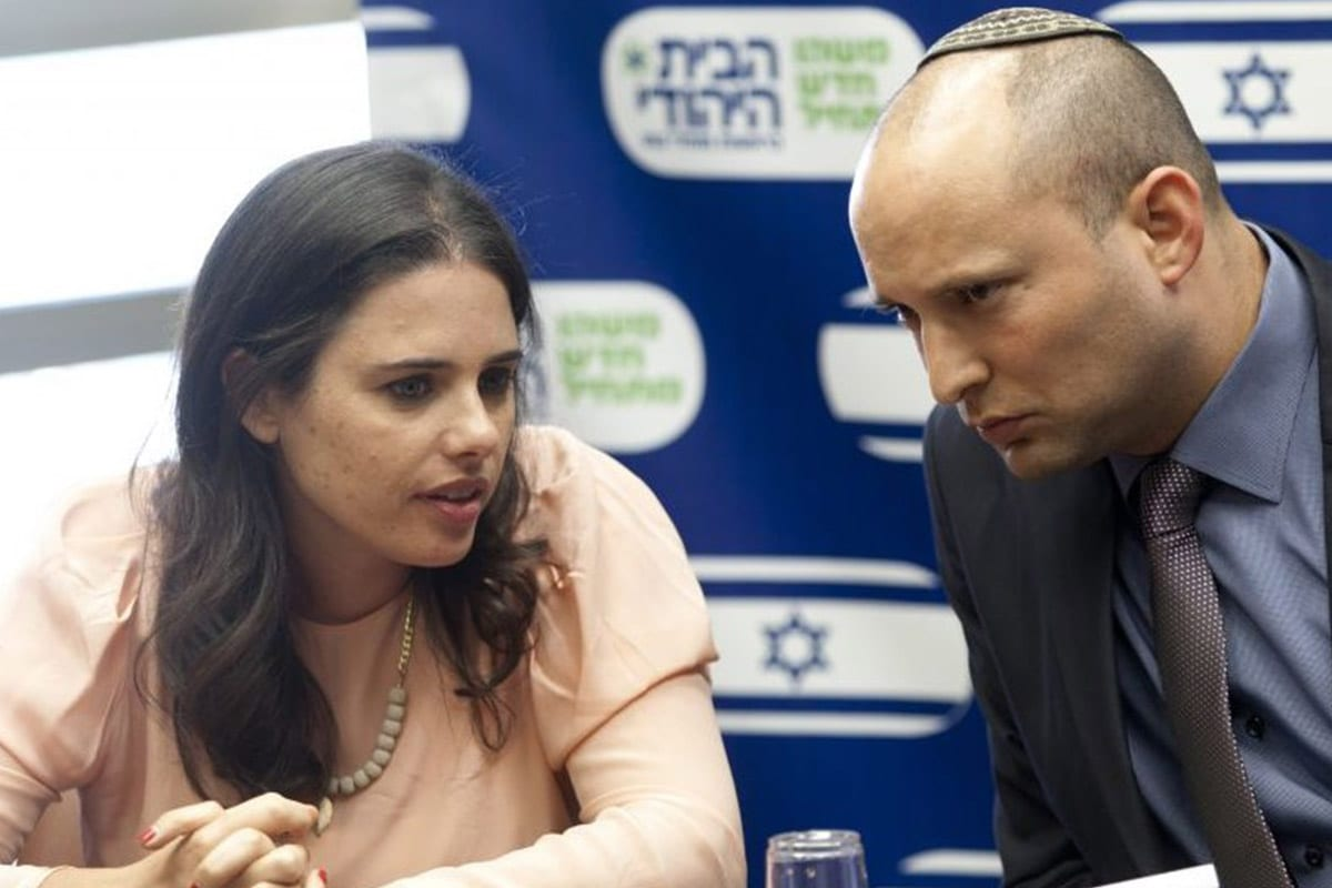 Israeli Justice Minister Ayelet Shaked (left), seen with Jewish Home Chairman Naftali Bennett [Twitter]