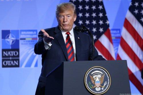 US President Donald Trump speaks at a press conference in Brussels, Belgium [Dursun Aydemir/Anadolu Agency]