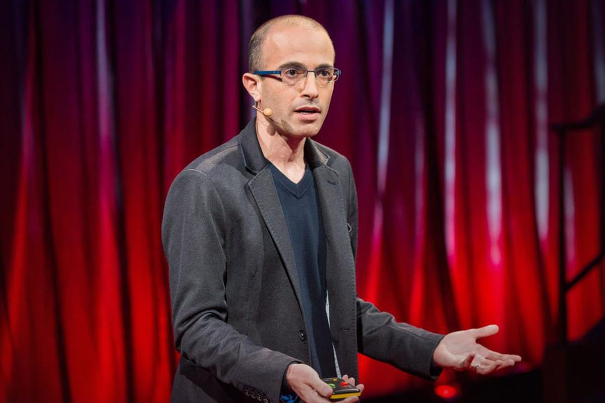 Israeli author Yuval Noah Harar giving a TED talk [Twitter]