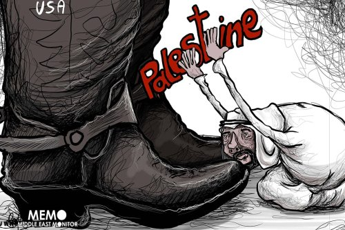 How hypocritical are the Arab leaders, selling Palestine out to the US - Cartoon [Sabaaneh/MiddleEastMonitor]