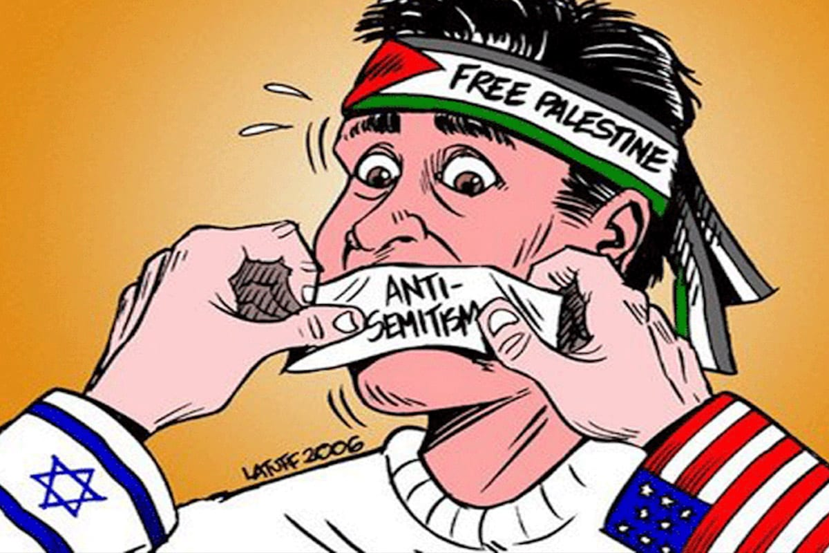 Carlos Latuff's cartoon - Criticisms of Israel labelled as antisemitism [Twitter]