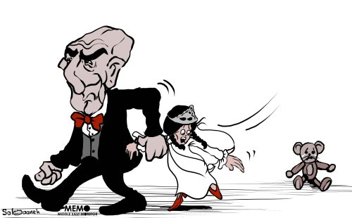 Child marriage in the Middle East - Cartoon [Sabaaneh/MiddleEastMonitor]