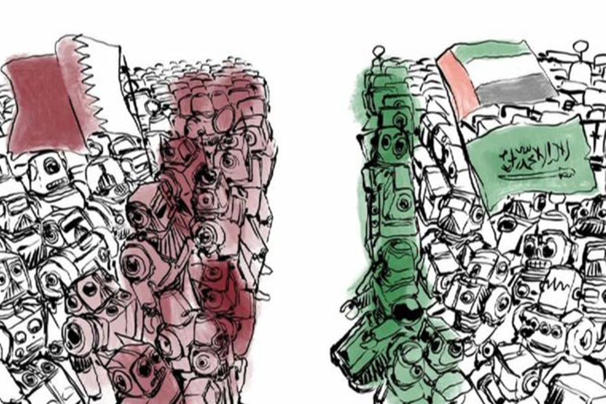 Cartoon showing bot armies of Qatar and Saudi/UAE facing off [Twitter]