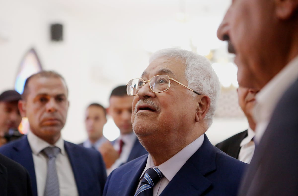 Palestinian President Mahmoud Abbas inspects City of pilgrims, in the West Bank of Jericho, on 6 August, 2018 [Shadi Hatem/Apaimages]