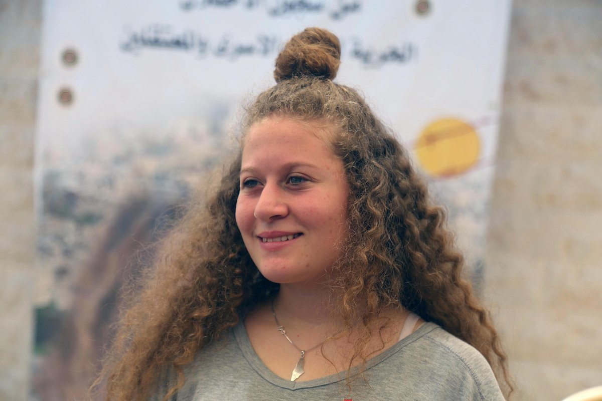 Palestinian teenager Ahed al-Tamimi (C) makes a speech during an exclusive interview in Nabi Salih village of Ramallah, West Bank on 2 August, 2018 [İssam Rimawi/Anadolu Agency]
