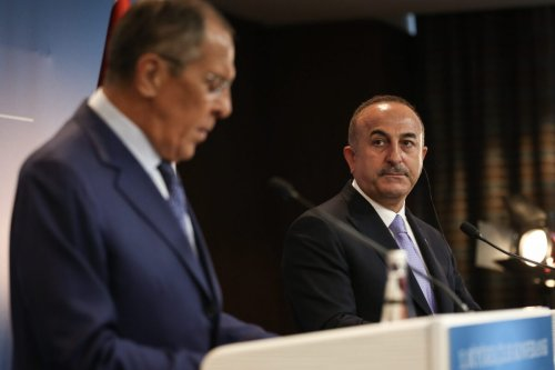 Russian Foreign Minister Sergey Lavrov (L) speaks during a joint press conference held with Minister of Foreign Affairs of Turkey, Mevlut Cavusoglu (R) within the 10th Ambassadors' Conference in Ankara, Turkey on August 14, 2018. [Cem Özdel - Anadolu Agency]