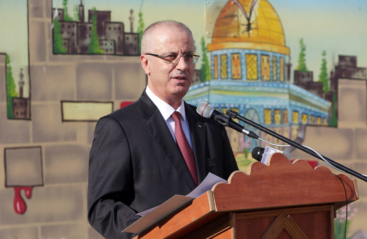 Palestinian Prime Minister Rami Hamdallah attends the opening of the new year study at Aqaba girl school, in the West Bank city of Tubas on 29 August, 2018 [Prime Minister Office/Apaimages]