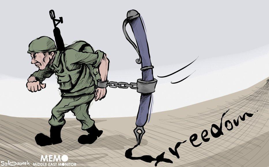Freedom of Expression in Israel - Cartoon [Sabaaneh/MiddleEastMonitor]
