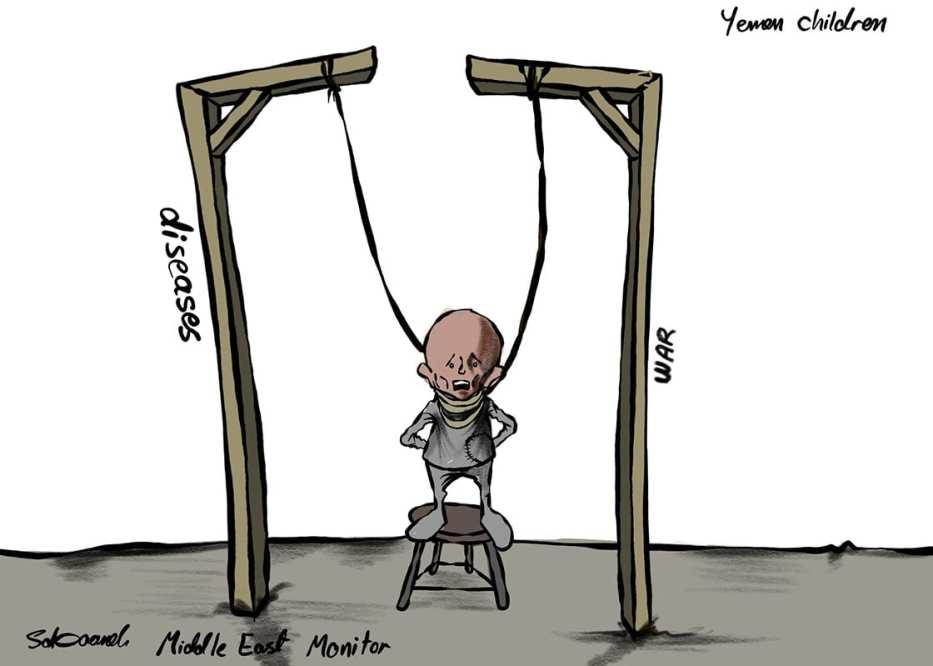 Yemeni children affected by the Saudi-coalition war - Cartoon [Sabaaneh/MiddleEastMonitor]
