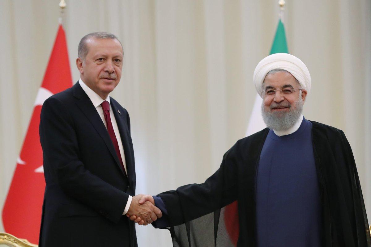 President of Turkey Recep Tayyip Erdogan (L) meets Iranian President Hassan Rouhani (R) ahead of trilateral summit between Turkey, Iran and Russia on September 7, 2018 in Tehran, Iran. ( Kayhan Özer - Anadolu Agency )