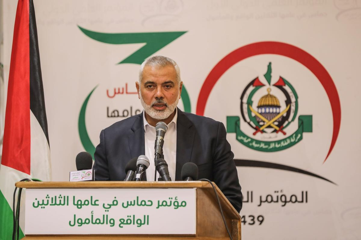 Head of the Political Bureau of Hamas Ismail Haniyeh makes a speech during a conference on 18 September, 2018 in Gaza City, Gaza [Ali Jadallah/Anadolu Agency]