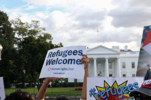Protesters gather in front of the White House to protest against Trump's announcement that it would limit the number of refugees admitted into the US in Washington, US on 18 September 2018 [Yasin Öztürk/Anadolu Agency]