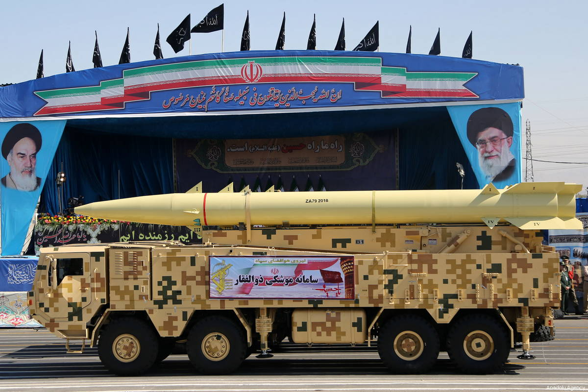 A sissile launching platform is seen during the military parade held to mark Sacred Defence Week in front of the Holy Shrine of Imam Khomeini in Tehran, Iran on September 22, 2018 [Fatemeh Bahrami / Anadolu Agency]