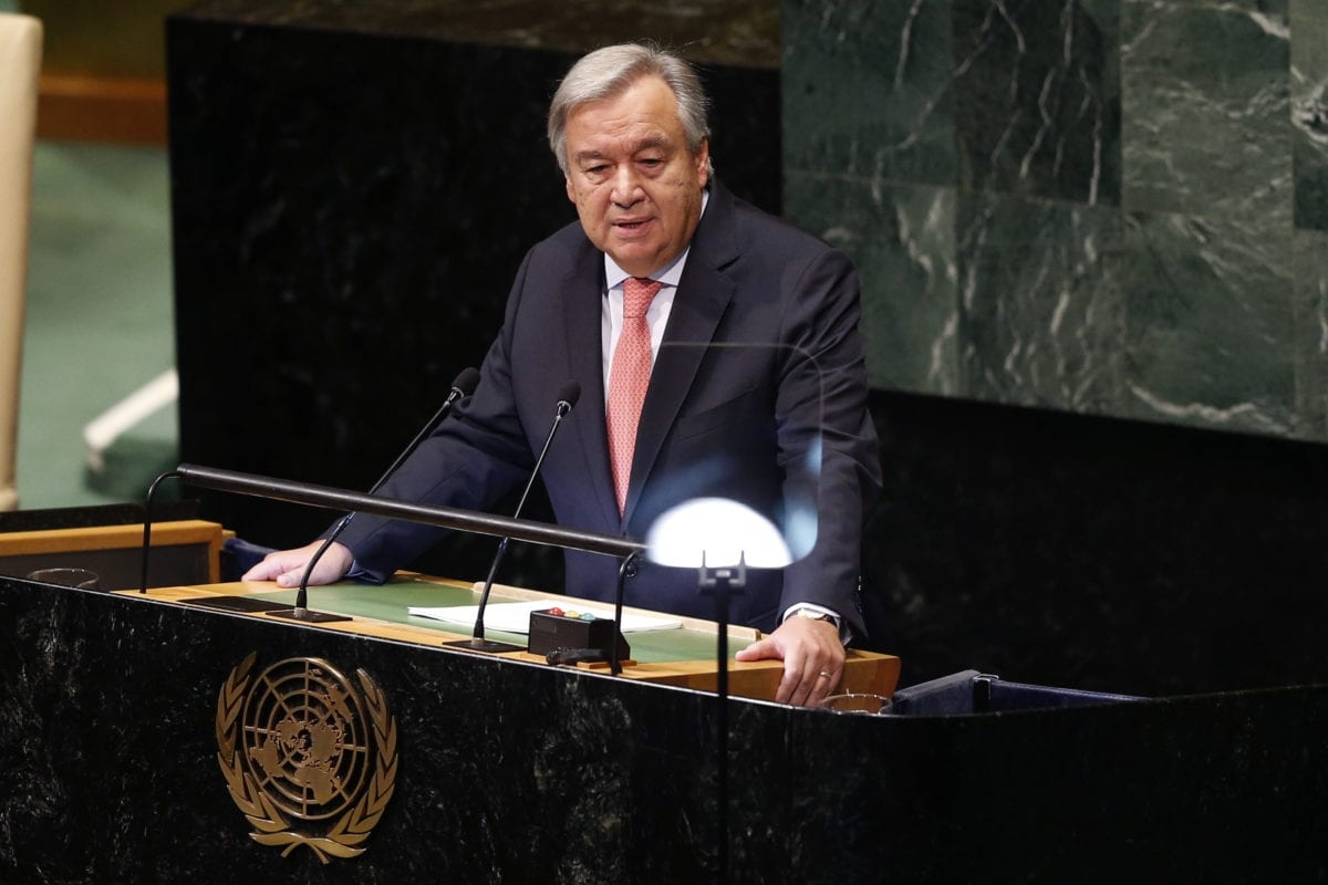 Secretary-General of the United Nations, Antonio Guterres, delivers a speech during the 73rd session of the UN General Assembly at the United Nations Headquarters in New York, United States on 25 September, 2018 [Atılgan Özdil/Anadolu Agency]