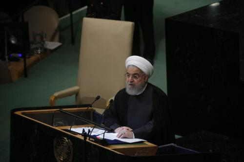 Iranian President Hassan Rouhani speaks at the 73rd Session of the United Nations General Assembly in New York, United States on September 25, 2018. ( Mohammed Elshamy - Anadolu Agency )