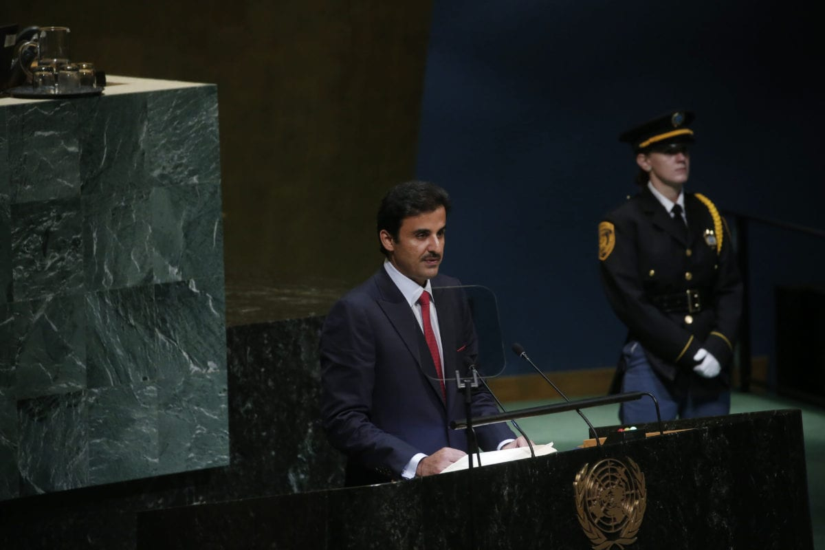 Qatari Emir Sheikh Tamim bin Hamad al-Thani speaks during United Nations 73rd General Assembly in New York, United States on 25 September, 2018 [Mohammed Elshamy/Anadolu Agency]