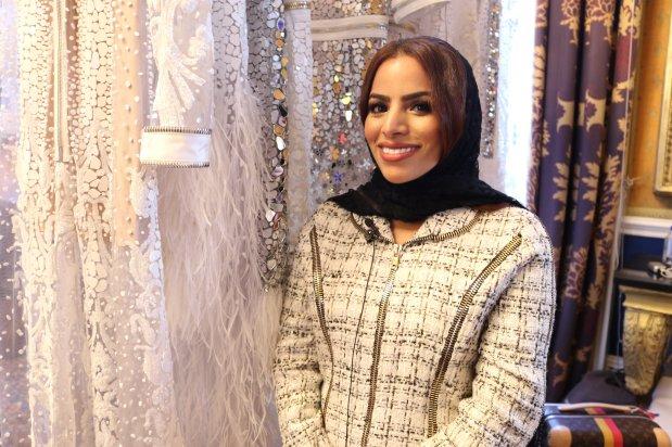Atelier Zuhra's designer at London Fashion Week in September 2018 [Jehan Alfarra/Middle East Monitor]