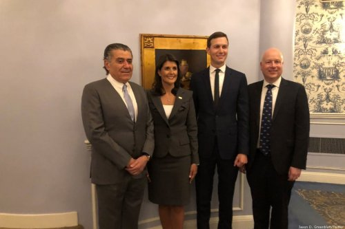 Jason Greenblatt (L), Jared Kushner (2L) Nikki Haley (2R) [Jason D. Greenblatt/Twitter]