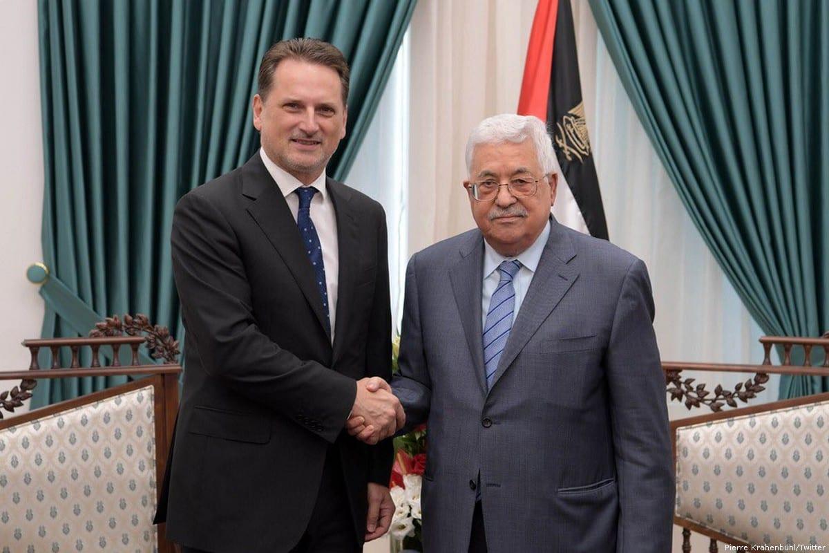 Pierre Krahenbuhl, Former Commissioner General of UNRWA (L) and Palestinian President Mahmoud Abbas [Pierre Krähenbühl/Twitter]
