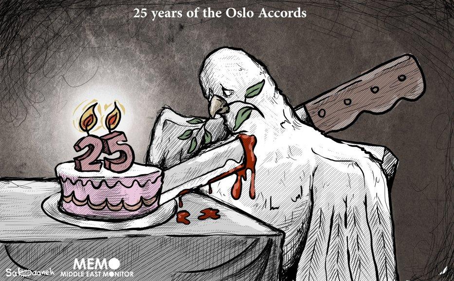 Oslo Accords, the 25th Anniversary - Cartoon [Sabaaneh/MiddleEastMonitor]