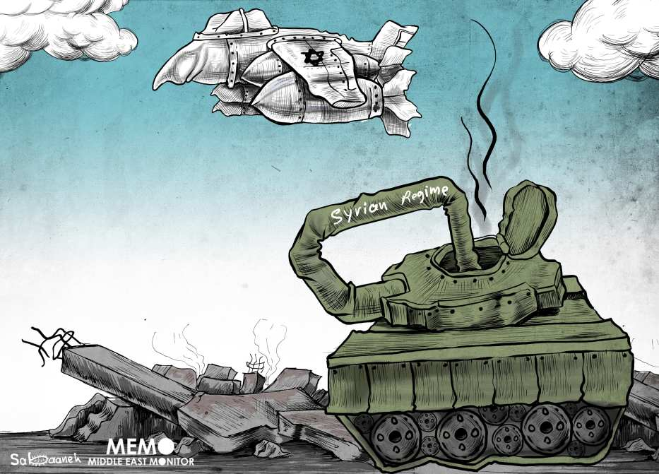 Tensions between Russia and Israel in Syria - Cartoon [Sabaaneh/MiddleEastMonitor]