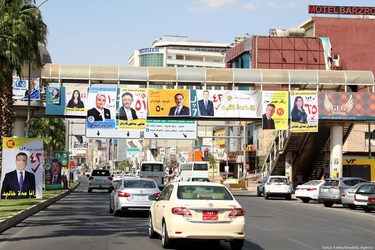Posters of candidates are seen after elections campaign period started for the Iraqi Kurdish Regional Government (IKRG) parliamentary in Erbil, Iraq on 11 September 2018 [Yunus Keleş/Anadolu Agency]