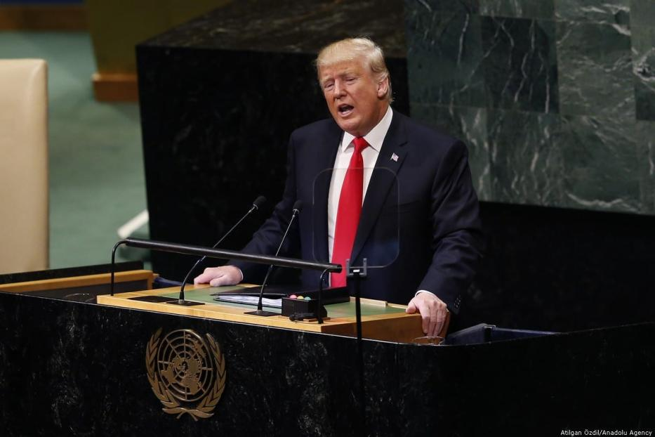 US President Donald Trump delivers a speech during a UN General Assembly at the UN Headquarters in New York, US on 25 September 2018 [Atılgan Özdil/Anadolu Agency]