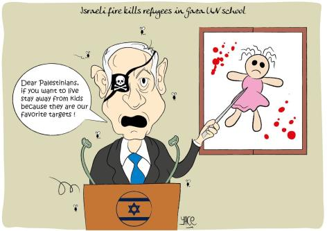 Israel targets Palestinian children - Cartoon [Yace/MiddleEastMonitor]