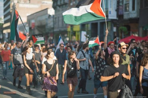 Demonstrators come together to support the BDS movement om 15 July 2012 [Heri