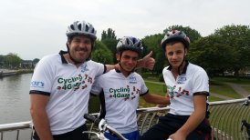 2015 Cycle - Left is Steve Sosebee CEO and Founder of PCRF (the NGO we supported that year) and Mutassam and Adham who joined us from Gaza on the cycle in the Netherlands (1)