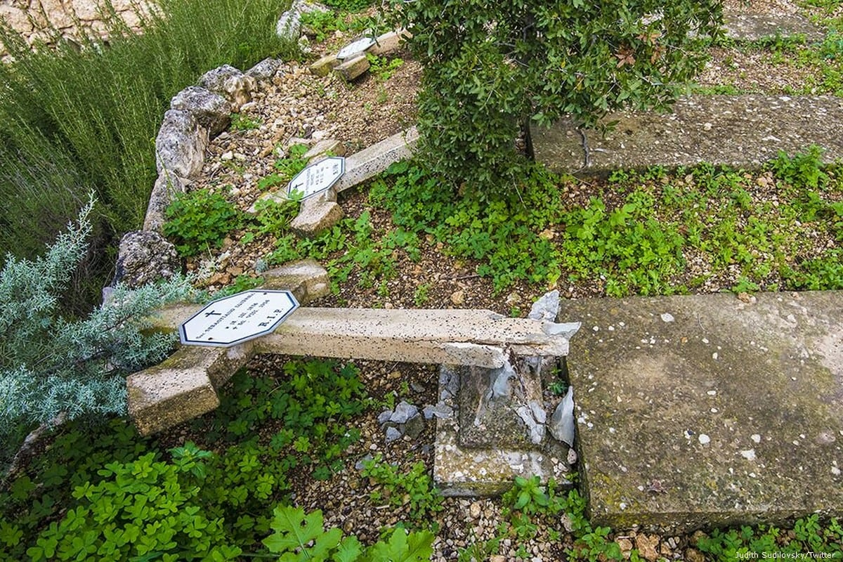 A Christian cemetery near Jerusalem has been vandalised with headstones found smashed on 9 January 2016 [Judith Sudilovsky/Twitter]