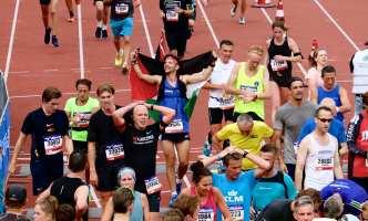 He completes the marathon with a big smile on his face! Amsterdam, 21 October 2018 [Abdullah Aşıran/Anadolu Agency]