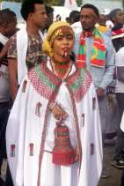 "Oromo woman wearing traditional clothes attends the ""Irreecha"" festival (Oromo Thanksgiving) in Ethiopia on 30 September, 2018. [Minasse Wondimu Hailu/Anadolu Agency]"