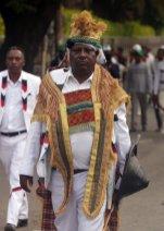 "Oromo man wearing traditional clothes attends the ""Irreecha"" festival (Oromo Thanksgiving) at Addis Ababa's Bishoftu town in Addis Ababa, Ethiopia on 30 September, 2018. [Minasse Wondimu Hailu/Anadolu Agency]"