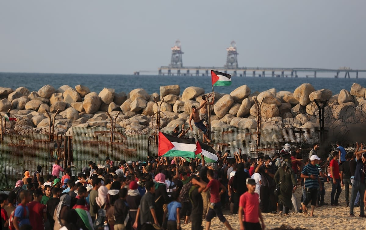 "Palestinians stage a ""maritime demonstration"" to break the Gaza blockade by sea with more than 20 vessels of various sizes in Gaza City, Gaza on 8 October 2018. [Mustafa Hassona - Anadolu Agency]"