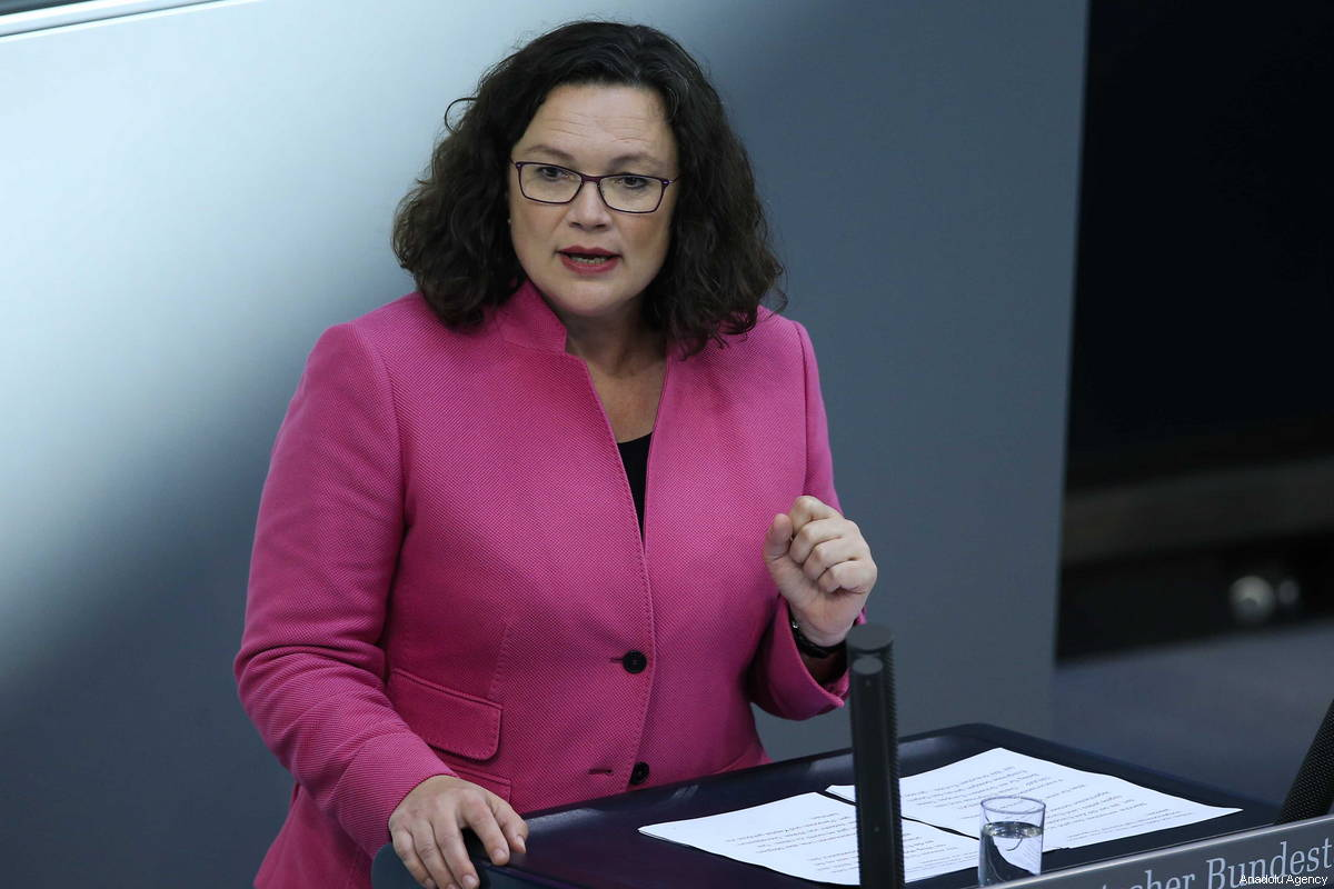 Social Democrat Party's (SPD) parliamentary group leader Andrea Nahles makes a speech after German Chancellor Angela Merkel's government statement on the EU Leaders Summit at the German Parliament (the Bundestag) in Berlin, Germany on October 17, 2018 [Abdülhamid Hoşbaş / Anadolu Agency]