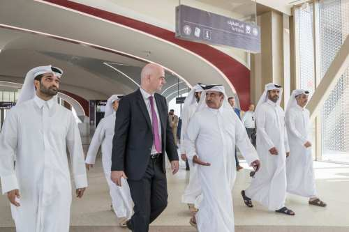 FIFA President Gianni Infantino (2nd L) receives informations from officials on preparations of 2022 FIFA World Cup during his visit in Doha, Qatar on 23 October 2018. [Qatar 2022 Local Organizing Committee / Handout - Anadolu Agency ]